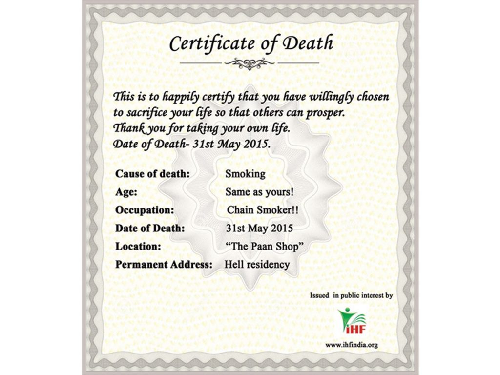 no smoking death certificate